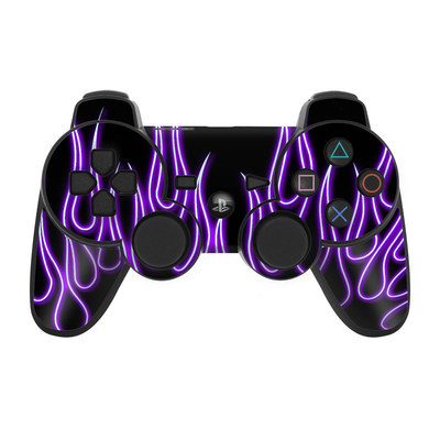 PS3 Controller Skin - Purple Neon Flames