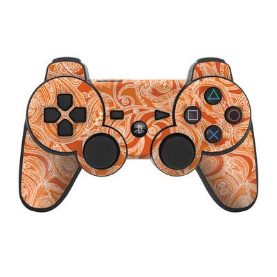 PS3 Controller Skin - Paisley In Orange