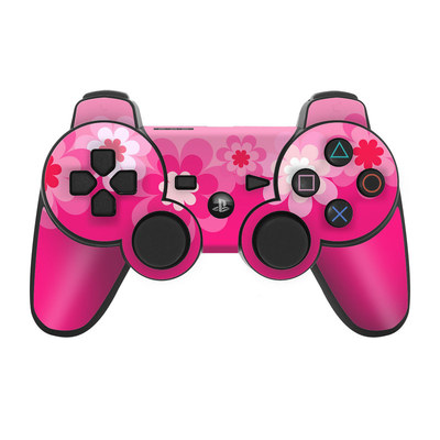 PS3 Controller Skin - Retro Pink Flowers