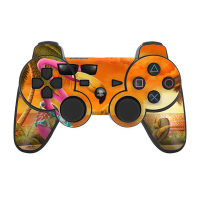PS3 Controller Skin - Sunset Flamingo