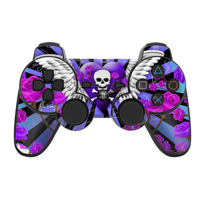 PS3 Controller Skin - Skull & Roses Purple