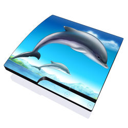 PS3 Slim Skin - Dolphins