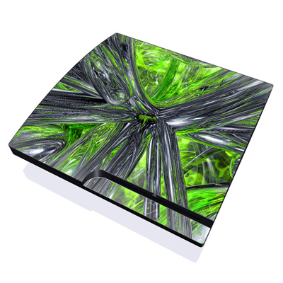 PS3 Slim Skin - Emerald Abstract
