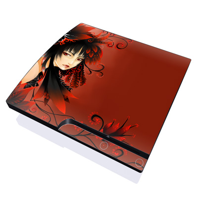 PS3 Slim Skin - Black Flower