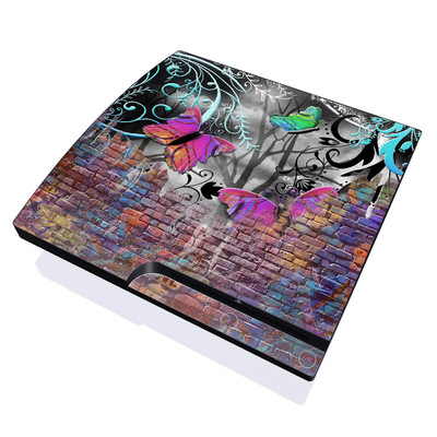 PS3 Slim Skin - Butterfly Wall
