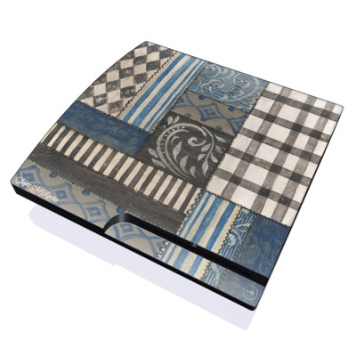 PS3 Slim Skin - Country Chic Blue