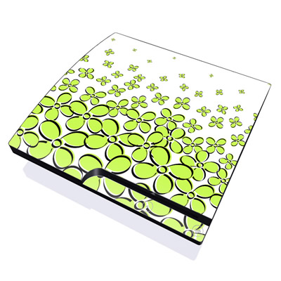 PS3 Slim Skin - Daisy Field - Green