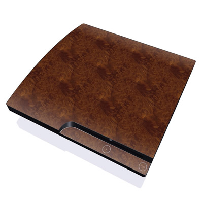 PS3 Slim Skin - Dark Burlwood