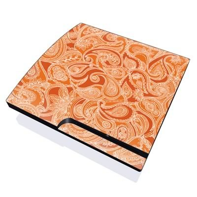 PS3 Slim Skin - Paisley In Orange