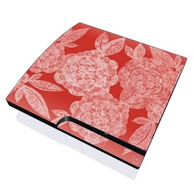 PS3 Slim Skin - Red Dahlias