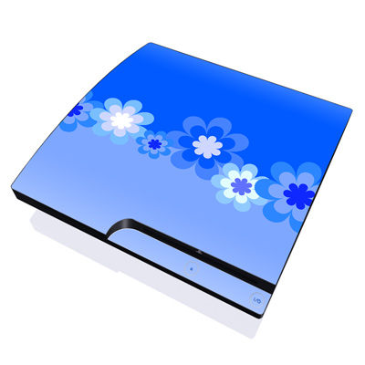 PS3 Slim Skin - Retro Blue Flowers