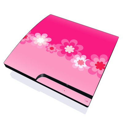 PS3 Slim Skin - Retro Pink Flowers