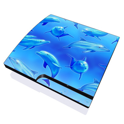 PS3 Slim Skin - Swimming Dolphins