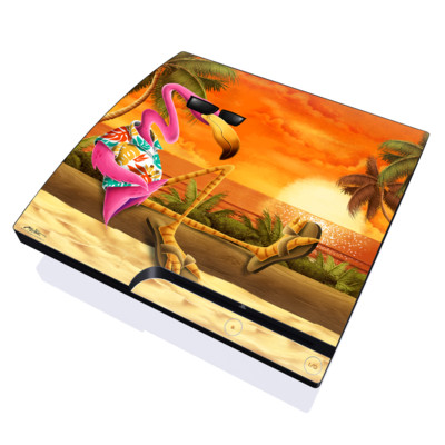 PS3 Slim Skin - Sunset Flamingo