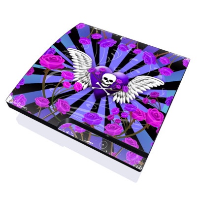 PS3 Slim Skin - Skull & Roses Purple