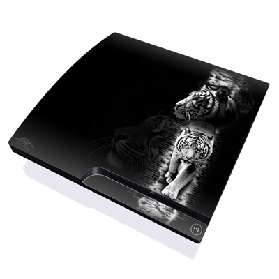 PS3 Slim Skin - White Tiger