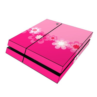 Sony PS4 Skin - Retro Pink Flowers