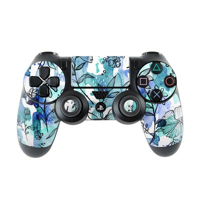 Sony PS4 Controller Skin - Blue Ink Floral
