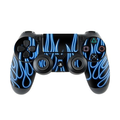 Sony PS4 Controller Skin - Blue Neon Flames