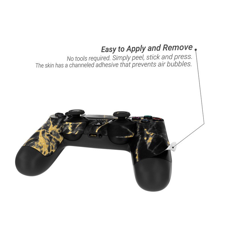 e3d8ccdbf98 Sony PS4 Controller Skin - Black Gold Marble by Marble Collection ...