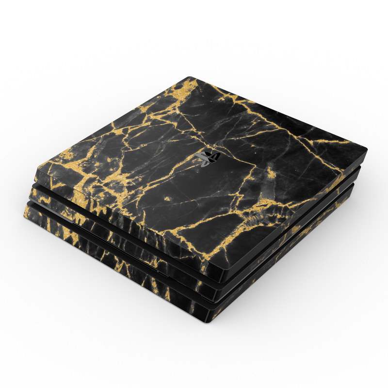 Sony PS4 Pro Skin - Black Gold Marble