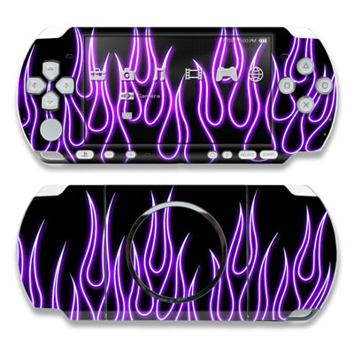 PSP 3000 Skin - Purple Neon Flames