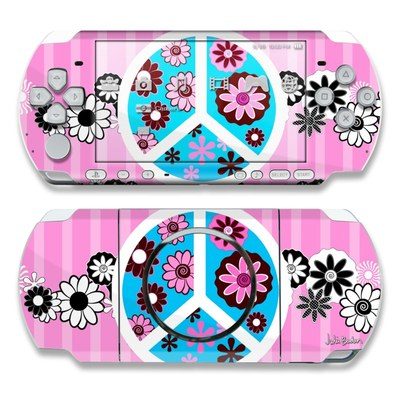 PSP 3000 Skin - Peace Flowers Pink