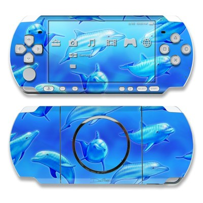 PSP 3000 Skin - Swimming Dolphins