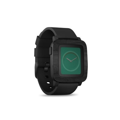 Pebble Time Smart Watch Skin - Black Woodgrain