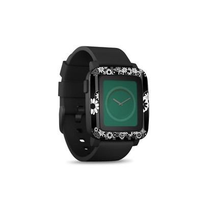 Pebble Time Smart Watch Skin - Black Retro