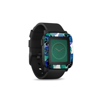 Pebble Time Smart Watch Skin - Blue Eye Flowers