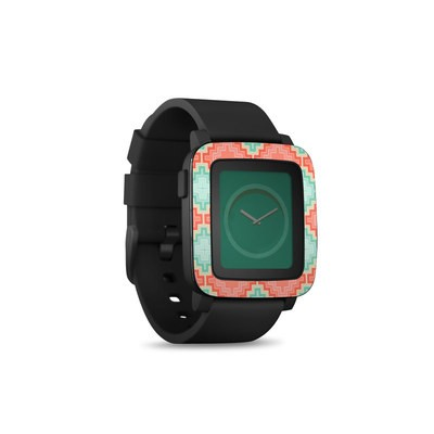 Pebble Time Smart Watch Skin - Coral Diamond