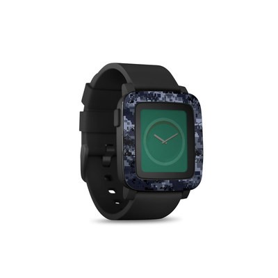Pebble Time Smart Watch Skin - Digital Navy Camo