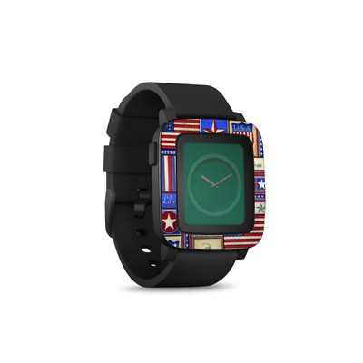 Pebble Time Smart Watch Skin - Flag Patchwork
