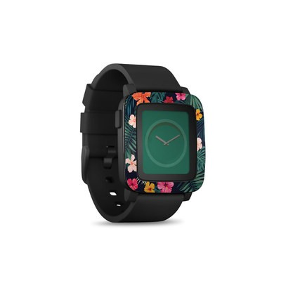 Pebble Time Smart Watch Skin - Tropical Hibiscus