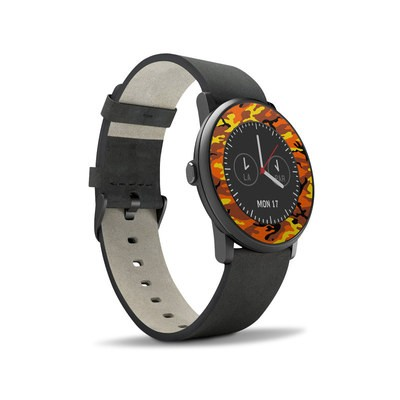Pebble Time Round Skin - Orange Camo