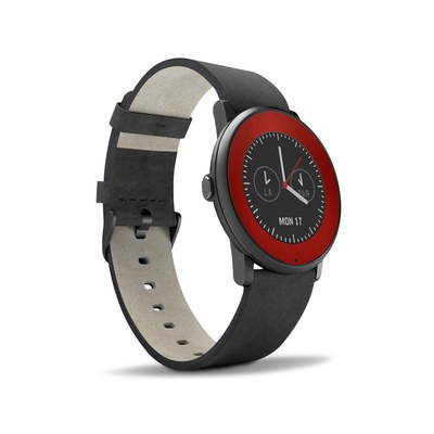 Pebble Time Round Skin - Red Burst