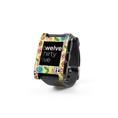 Pebble Watch Skin - Button Flowers