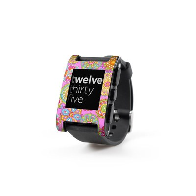 Pebble Watch Skin - Bright Flowers