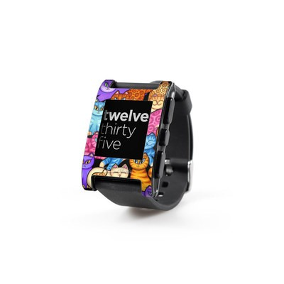 Pebble Watch Skin - Colorful Kittens