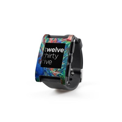Pebble Watch Skin - Coral Peacock