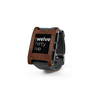 Pebble Watch Skin - Dark Burlwood