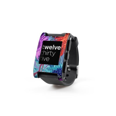 Pebble Watch Skin - Deep Water Daisy Dance