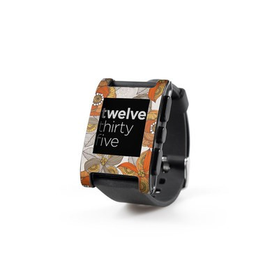 Pebble Watch Skin - Orange and Grey Flowers