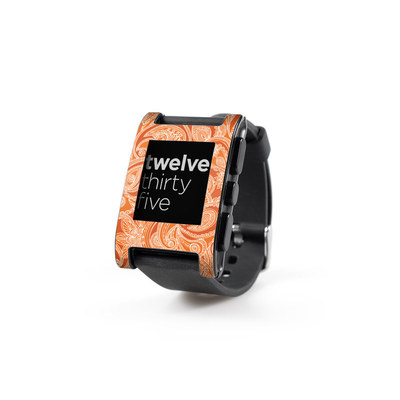 Pebble Watch Skin - Paisley In Orange