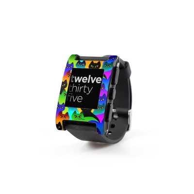 Pebble Watch Skin - Rainbow Cats