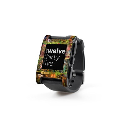 Pebble Watch Skin - Wine Shelf