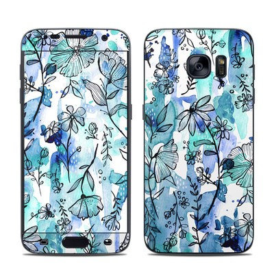 Samsung Galaxy S7 Skin - Blue Ink Floral