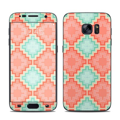 Samsung Galaxy S7 Skin - Coral Diamond