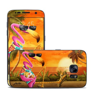 Samsung Galaxy S7 Skin - Sunset Flamingo